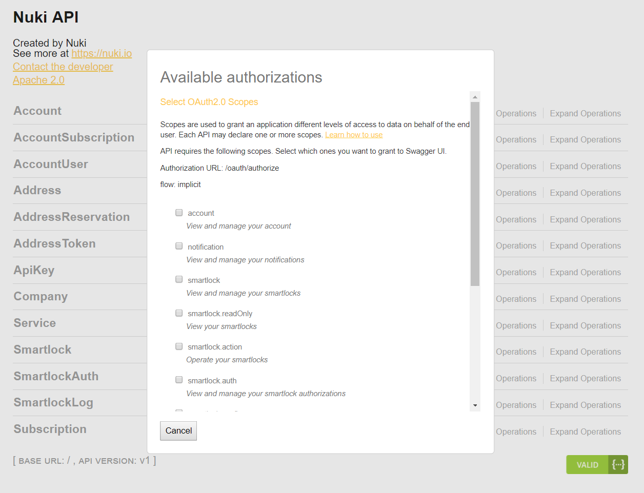 Swagger Interface - Web API - Nuki Developers